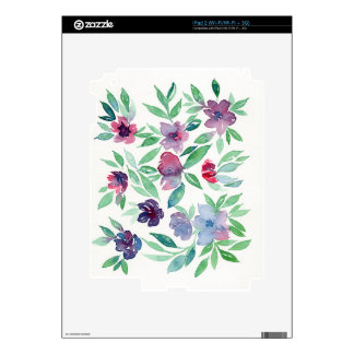 Free Floral - Blue, Purple, Green Vines Greenery Skins For The iPad 2