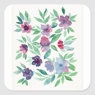 Free Floral - Blue, Purple, Green Vines Greenery Square Sticker