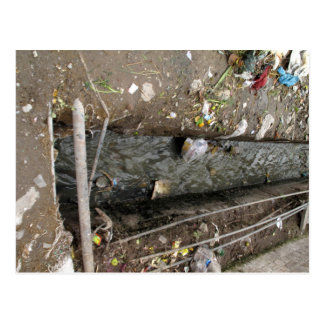 Free flowing sewage drain postcard