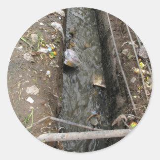 Free flowing sewage drain round stickers