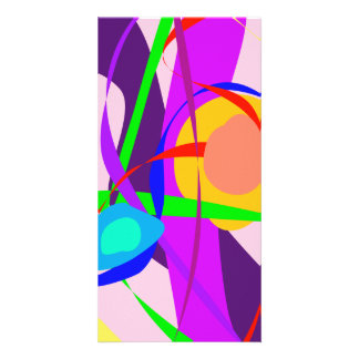 Free Forms and Lines Pink Purple Abstract Painting Customized Photo Card