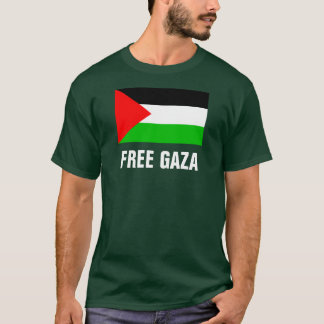 Free Gaza Green T-Shirt - Large Letters