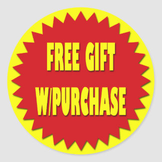 FREE GIFT WITH PURCHASE RETAIL SALES LABEL CLASSIC ROUND STICKER