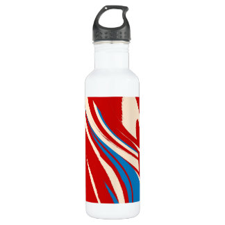 Free Hand Loops and Flow Retro Painting Abstract Stainless Steel Water Bottle
