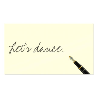 Free Handwriting Script Dance Business Card