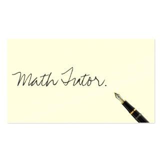 Free Handwriting Script Math Tutor Business Card