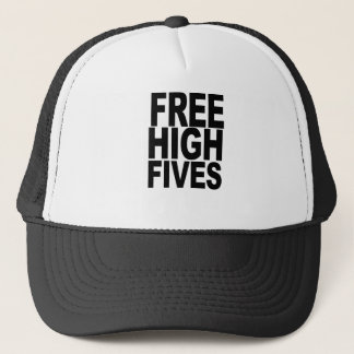 FREE HIGH FIVES T-SHIRT X-LARGE funny humor geek a Trucker Hat