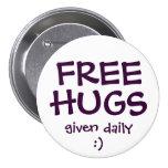 FREE HUGS 3 INCH ROUND BUTTON