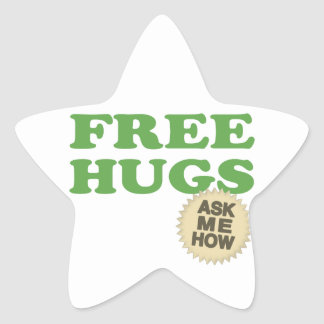 Free Hugs. Ask Me How. Star Sticker