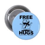 """Free Hugs"" Bill Plympton Dog button blue"