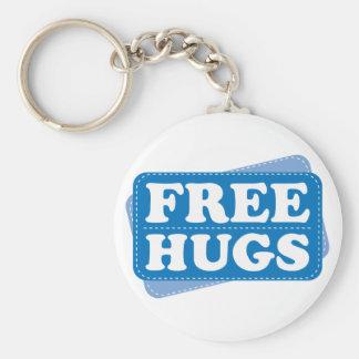 Free Hugs - Blue Basic Round Button Keychain