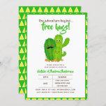 Free Hugs Cacti Family Modern Yellow Green Invitation