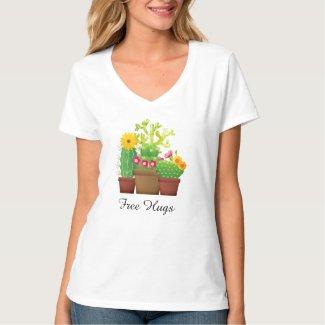 Free Hugs Cactus Garden Women's White T-Shirt
