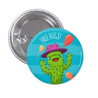 Free Hugs Cactus Illustration - Funny Badge Pinback Button
