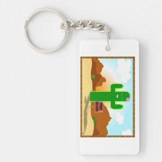Free Hugs Cactus Key Ring Single-Sided Rectangular Acrylic Keychain