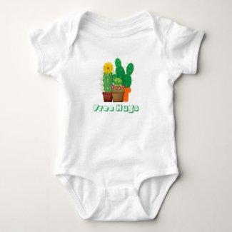 Free Hugs Cactus Pattern Baby Bodysuit