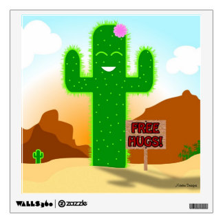 Free Hugs Cactus Wall Decal