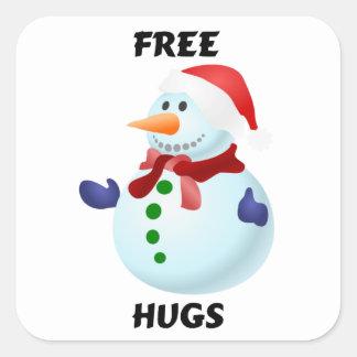 Free Hugs Christmas Snowman Square Sticker
