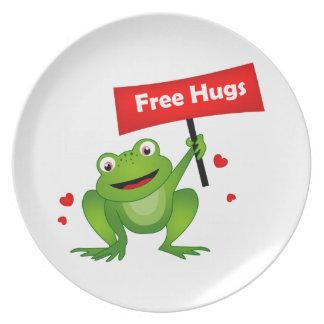 free hugs cute frog melamine plate