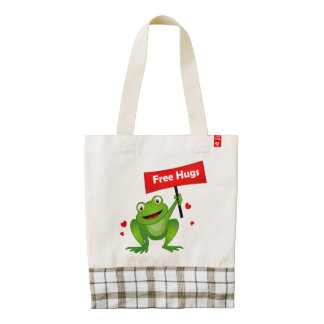 free hugs cute frog zazzle HEART tote bag