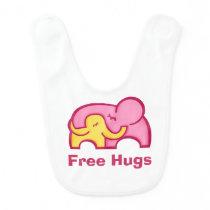 Free Hugs elephant pink yellow Baby bib
