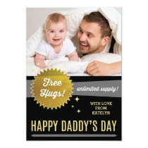 Free Hugs Father's Day Flat Card / Faux Gold Foil