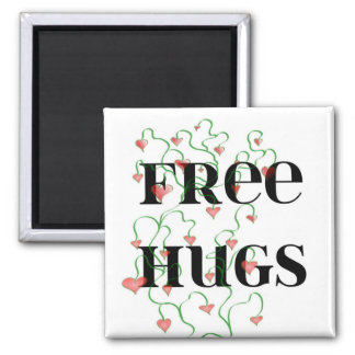 Free Hugs Hearts 2 Inch Square Magnet