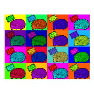 Free Hugs Hedgehog Colorful Pop Art Popart Postcard