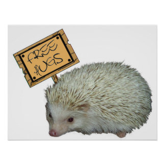 Free Hugs Hedgehog Poster