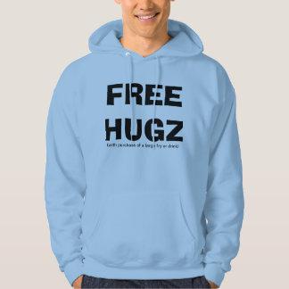 Free Hugs Humorous Small Print Hoodie