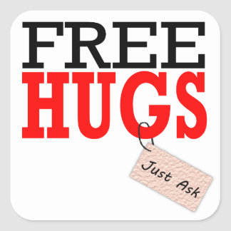 Free Hugs Just Ask Red Stickers