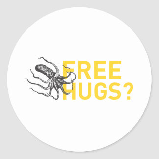 Free hugs octopus classic round sticker