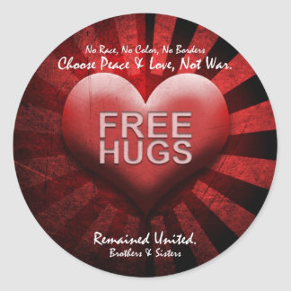 FREE HUGS - Peace & Love Classic Round Sticker
