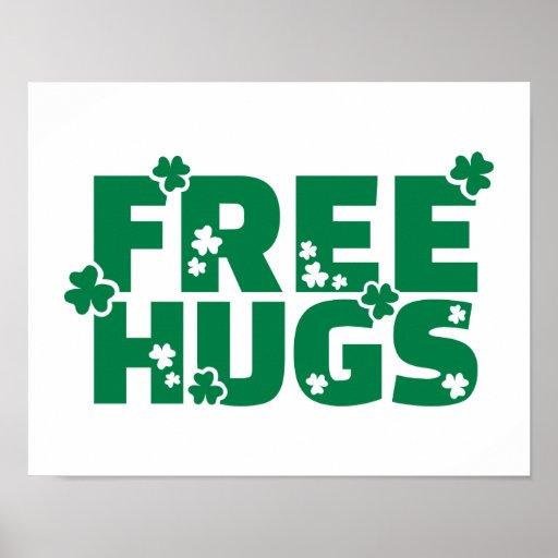 Free hugs shamrocks poster