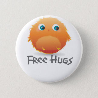 Free hugs small furry creature pinback button