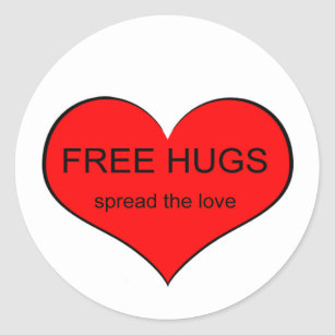 Free Hugs Spread Love Classic Round Sticker