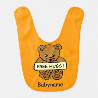 Free Hugs Teddy custom baby bib
