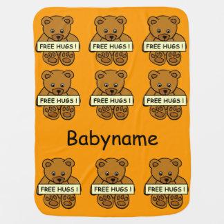Free Hugs Teddy custom baby blanket