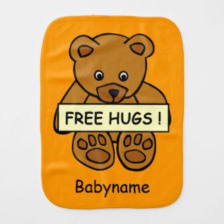 Free Hugs Teddy custom burp cloth