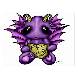Free Hugz Whimsy Dragon Postcard
