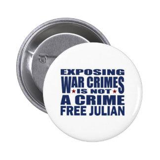 Free Julian Assange - WikiLeaks Pinback Button