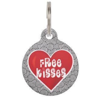 Free Kisses Dog Identity Tag Pet Nametag