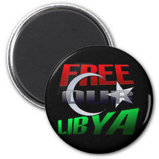 Free Libya Gift for Libyan friends and family 2 Inch Round Magnet