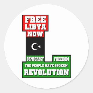 Free Libya Now Classic Round Sticker
