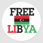 Free Libya Round Stickers