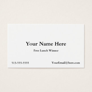Free Lunch Winner Business Cards