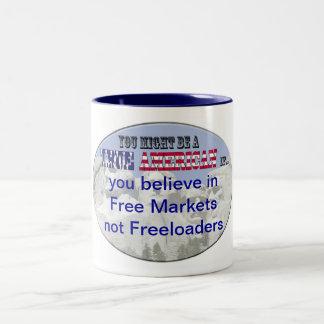 free market not freeloaders Two-Tone coffee mug