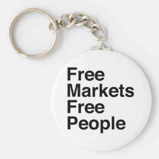 Free Markets Free People Basic Round Button Keychain