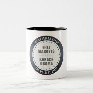 Free Markets Versus Obama Two-Tone Coffee Mug