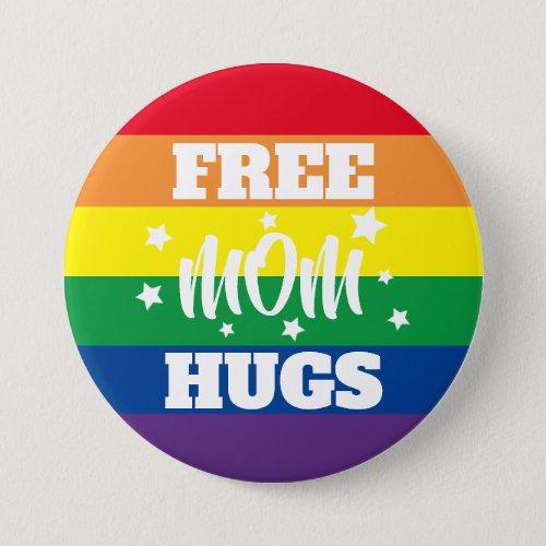 Free Mom Hugs  Stars  Rainbow Button